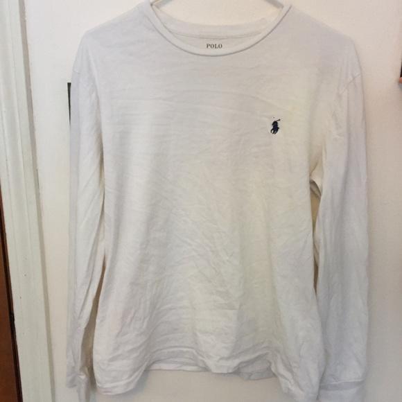Men's White Long Sleeve Polo Ralph Lauren T-Shirt